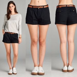Pants - BELTED WOVEN SHORTS - Black